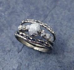 Raw Diamond White gold wedding ring & engagement ring - the band not the engagement