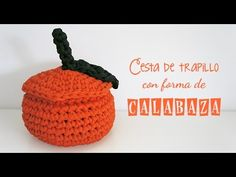 Pumpkin-shaped trapillo basket with lid – MissDIY - imaginary dream Knitting Videos, Crochet Videos, Knitting Yarn, Cotton Cord, Crochet Patron, Beaded Boxes, Halloween Crochet, T Shirt Yarn, Crochet Designs