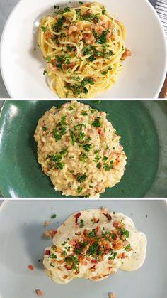 Tasty Videos, Food Videos, Pasta A La Carbonara, Sauce Carbonara, Healthy Dinner Recipes, Cooking Recipes, Delicious Recipes, Cooking Beef, Pan Cooking