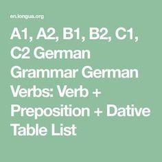 Verbs List, German Translation, Prepositional Phrases, Grammar Tips, German Grammar, German Language Learning, Vocabulary List, Learn German, Prepositions
