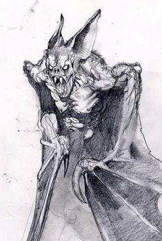 Man bat / Were bat - art by Simon Bisley Creepy Sketches, Art Sketches, Arte Horror, Horror Art, Creature Feature, Creature Design, Fantasy Creatures, Mythical Creatures, Bat Sketch