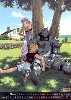 Edward & Alfonse Elric with Winry - oh I love FMA