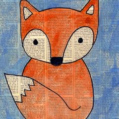 Fox Painting on Newspaper · Art Projects for Kids Arte Elemental, Fox Drawing, Baby Drawing, Fox Painting, Painting Gallery, Easy Art Projects, Project Projects, Recycled Art Projects, Ecole Art