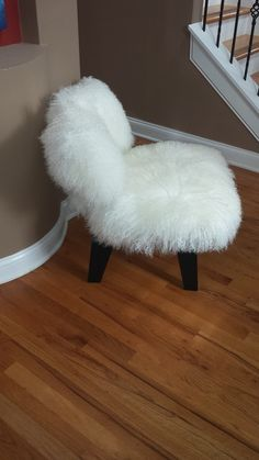 Eames style Mongolian lamb covered chair