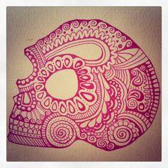 Skull doodle by Linda Kajanová