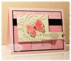 gorgeous card layout-Stamps: Butterfly Prints, Friendly Phrases  Paper: Pink Pirouette, Basic Black, Subtles DSP Stack, Very Vanilla  Ink: Regal Rose, Basic Black, Stazon™  Accessories: Black Grosgrain, Basic Rhinestones, Dimensionals®, Elegant Lines Embossing Folder, Stampin' Sponges
