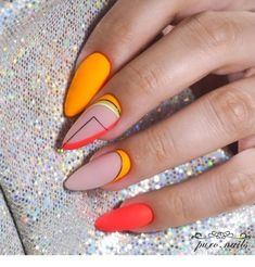 What Christmas manicure to choose for a festive mood - My Nails Funky Nails, Neon Nails, Cute Acrylic Nails, Neon Orange Nails, Neon Nail Art, Nail Pink, Red Nail, Perfect Nails, Gorgeous Nails