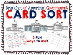Branches of Government + Levels of Government Card Sort 3rd Grade Social Studies, Social Studies Notebook, Social Studies Classroom, History Classroom, Teaching Social Studies, Student Teaching, Government Lessons, Teaching Government, 3 Branches Of Government