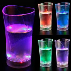 Led Light Cups Flashing Acrylic Cola Beer Mug Barware For Party Weeding Colorful