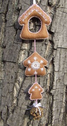 Karácsonyi dekoráció / Felt Christmas Decoration - alter and make different 'gingerbread' pieces...maybe a house, a man, a gingerbread woman etc.