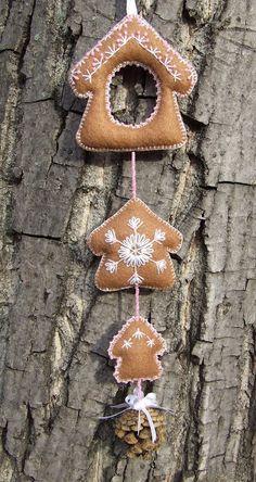 Karácsonyi dekoráció / Felt Christmas Decoration - alter and make different 'gingerbread' pieces...maybe a house, a man, a gingerbread woman etc.