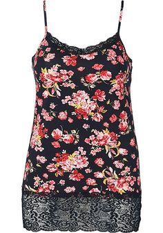 sheego Style Top mit Blumenmuster - schwarz-rot