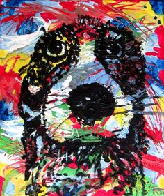 Pets, Haustiere, Hund Dog knallbunter Hintergrund mit nasssem Hund, not amused, mwart marion waschk, lusr´tig komisch mimik, art for kids