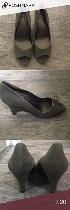 Gray Swede wedge heels, size 9, from the Loft Gray swede wedge heels, minimal wear, I'm a size 8.5, but these fit me well. Very comfortable and classy! No discoloration. The Loft Shoes Heels