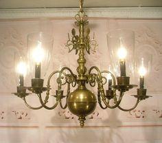 Antique Brass Electrified Williamsburg Candelabra Chandelier Ceiling Light Glass Antique Chandelier, Chandelier Ceiling Lights, Candelabra, Antique Brass, Sconces, Curtains, Lighting, Antiques, Glass