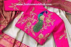 Aari work blouse peacock design