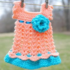 Newborn Dress Peach and Teal Infant Outfit Baby Girl by Kimberose, $40.00