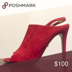 Diane von Furstenberg Red Slingback Sandals DVF red slingback sandals. Size 9.5. Suede. Made in Italy. Pre-owned, lightly worn. Slight black scruffing, washable since its suede! Diane von Furstenberg Shoes Heels