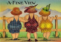 our little flock of MaryJanesFarm sister-hens have gone utterly nutz over glamping. In the last month four of us have bought vintage camping trailers . one jus. Illustrations, Illustration Art, Plus Size Art, Love My Sister, Decoupage, Crazy Friends, Painted Wine Glasses, Hippie Art, Fat Women