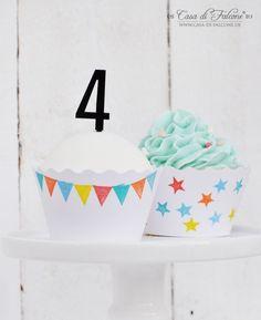 bestempelte Cupcake Wrapper I Zahlenstecker I Casa di Falcone