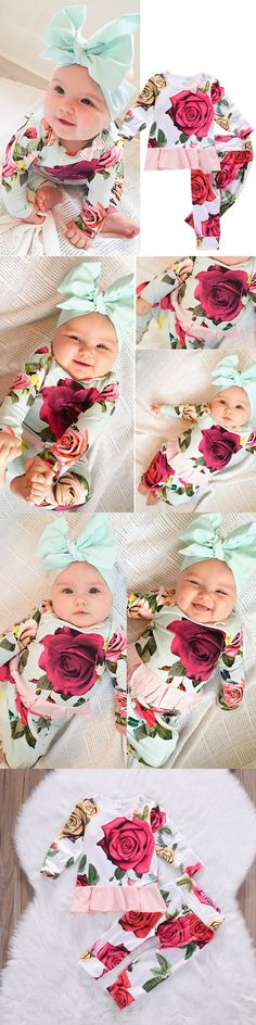 Baby Girls Clothing: Us Newborn Toddler Kids Baby Girl Outfit Clothes T-Shirts+Floral Pants 2Pcs Set -> BUY IT NOW ONLY: $6.45 on eBay!