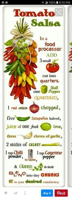 Tomato Salsa Recipe on a Cotton Flour Sack Dish Towel Tea Towel. in salsa? Healthy Snacks, Healthy Eating, Healthy Recipes, Tomato Salsa Recipe, Salsa Picante, Good Food, Yummy Food, Comida Latina, Snacks Für Party