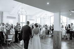 Bride and groom together inside Mythe Barn - © Daffodil Waves