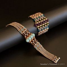 Beading Tutorial - Luxurious Art Deco Bracelet - PDF File, for Personal Use Only. Pattern with Crystal Drops, Seed Beads, Fire Polished Seed Bead Bracelets, Seed Bead Jewelry, Diy Jewelry, Beaded Jewelry, Jewelry Bracelets, Handmade Jewelry, Jewelry Design, Jewelry Making, Seed Beads