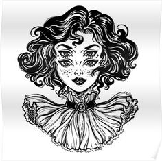 Gothic witch girl head portrait with curly hair and four eyes. Poster tattoo girl drawing Gothic witch girl head portrait with curly hair and four eyes. Kunst Tattoos, Tattoo Drawings, Art Drawings, Gothic Drawings, Weird Drawings, Drawing Drawing, Psychedelic Art, Witch Girl, Illustration Art Nouveau