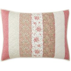 Home Expressions™ Piper Pillow Sham (1.290 RUB) ❤ liked on Polyvore featuring home, bed & bath, bedding, bed accessories, pink pillow shams, pink floral bedding, pink paisley bedding, patchwork bedding and sage green bedding