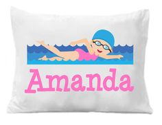 Items similar to Girls Swimming Personalized Pillow Case, Children's Personalized Pillow Case, Swimming Gift, Kids Personalized Gifts on Etsy Personalized Gifts For Kids, Personalized Pillow Cases, Custom Pillow Cases, Custom Pillows, Monogram Pillowcase, Kids Birthday Gifts, Girls Swimming, Room Themes, Daughters