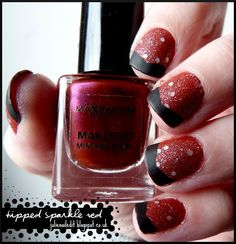 Tipped Sparkle Red Nails