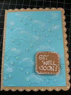 Java Jen Creations: My Papercrafting World Challenge #128 - Rain.  Darice cloud embossing folder
