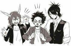 Eijirou, Izuku, Shouto, cool, punk, funny, outfits, sunglasses; My Hero Academia