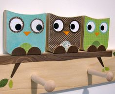 Owl Friends Peg Rack - Blue, Brown and Green - eco-friendly- by Maple Shade Kids. $79.00, via Etsy.