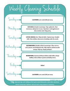 Weekly Cleaning Schedule For The Home!