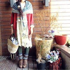 森ガール #mori, #morikei, #forestgirl || love everything about this fun outfit.