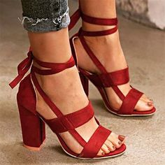 7b5c00b7c8ca Flocking Lace-up Chunky Heel Daily Pumps  sandals  shoe  women  summer
