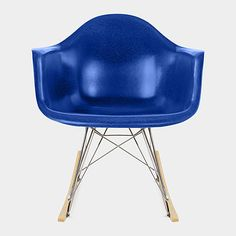 Ultramarine Blue Eames Molded Fiberglass Armchair Rocker Base, Charles and Ray Eames, 1950