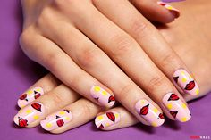 Step-by-step photos by Mark Iantosca for teenvogue.com - I'm using kiss nail art pens, colors by topshop and nubar for this lips and p...