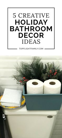 ad Hosting season is here, and there's no better time to spruce up your powder room. Here are 5 holiday bathroom decor ideas to get ready for holiday guests. Pirate Bathroom Decor, Christmas Bathroom Decor, Diy Bathroom Decor, Bathroom Signs, Bath Decor, Craftsman Bathroom, Bathroom Wallpaper, Hallway Decorating, Amazing Bathrooms