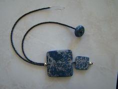 double pendant necklace mokume technique Polymer Clay Creations, Objects, Pendant Necklace, Drop Necklace