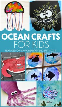 27 Ocean Crafts For Kids I Heart Arts n Crafts : Sadly, we weren't able to plan a family vacation this summer which is typically a few days at the Outer Banks. So instead we're bringing the ocean to us! Every month my Kids Craft Stars friends and I do a Toddler Crafts, Preschool Crafts, Crafts For Kids, Arts And Crafts, Kindergarten Crafts, Ocean Activities, Vocabulary Activities, Spanish Activities, Therapy Activities