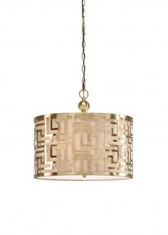 Antique Brass Pendant with Linen Shade Liner www.wellappointedhouse.com  #homedecor #decorate #redecorate #lighting #pendants