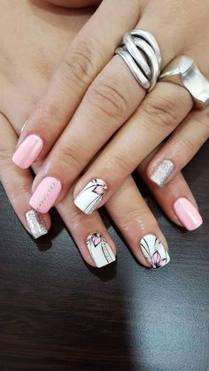 Nail art Christmas - the festive spirit on the nails. Over 70 creative ideas and tutorials - My Nails Fancy Nails, Cute Nails, Pretty Nails, Pink Nail Designs, Nail Designs Spring, Spring Nail Art, Spring Nails, Hair And Nails, My Nails