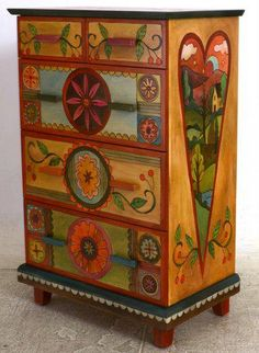 Colorful hand painted on pinterest dressers painted for Painting over lead paint on furniture