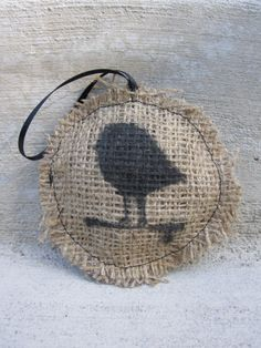 Burlap Ornament Black/Natural Bird
