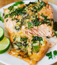 1 lb salmon 1 tablespoon olive oil salt and pepper 2 tablespoons honey 1 tablespoon freshly squeezed lime juice 2 tablespoons chopped cilantro 3 garlic cloves minced oven 400 F. Brush salmon with 1TB olive oil, salt&pepper. Put salmon large piece of foil. Fold foil sides and ends up (1 or 2 inches high). Leave top open, place on baking sheet. Combine other items, spread on Salmon. Bake 15-20 Minutes.