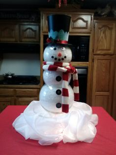 snowmen made from fish bowls!:) he is so cute!!