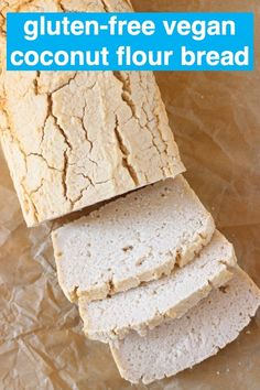 Coconut Flour Bread isyeast-free no-knead oil-freeand contains no added sugar!perfect for sandwiches.Vegan gluten-free egg-free and dairy-free. Dairy Free Bread, Yeast Free Breads, Vegan Bread, Dairy Free Recipes, Vegan Gluten Free, Gluten Free Bread Recipe No Yeast, Wheat Free Bread Recipes, Vegetarian Recipes, Bread Food